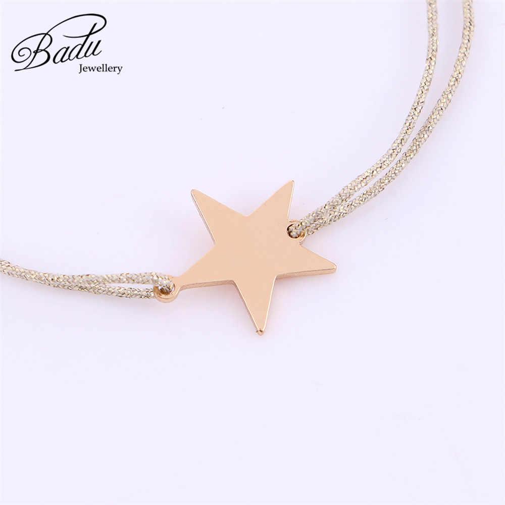 Badu หญิงสร้อยข้อมือ Golden สายรัดปรับขนาด Golden Star Charm สร้อยข้อมือเครื่องประดับที่ละเอียดอ่อนสำหรับฮาโลวีน