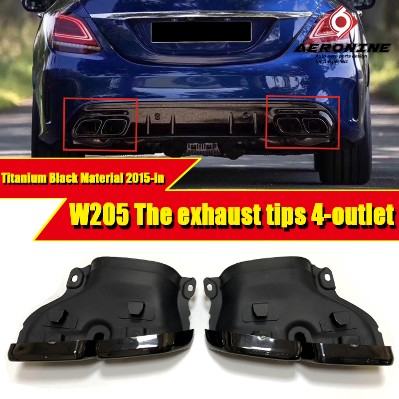 Titanium Black Material W205  Sports Car Rear The exhaust tips 4-outlet Fits For Mercedes Benz C Class C180 C200 C300 15-in