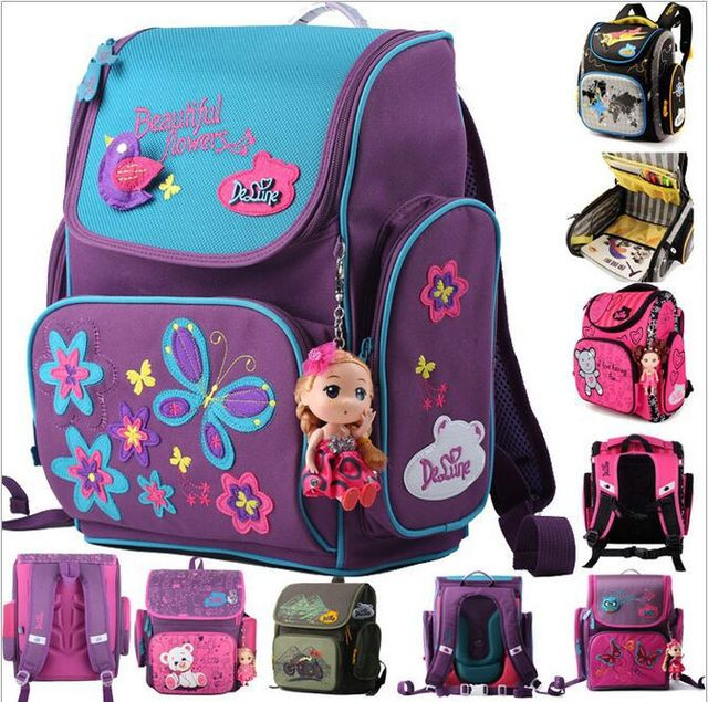 a2d64afc3793 Embroidery Butterfly Orthopedic Backpack Reflective School Backpack  Portfolio Boys Bag School Bags for Girls Mochilas Infantils