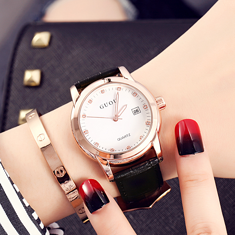 New GUOU Famous Brand Rose Gold Watch Fashion Women Watches Quartz Watch ladies dress watch Date Clock relogio feminino guou brand new luxury fashion quartz ladies watch clock rose gold dress casual girl relogio feminino women watches gu 8148