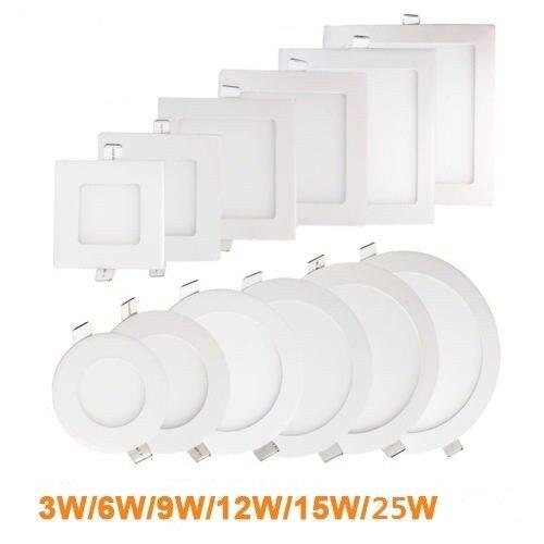 Ultra cienki oświetlenie panelowe led wpuszczane led lampa sufitowa Spot lampa świecąca w dół z kierowcą AC85-265V ciepły biały/naturalna biel/zimny biały