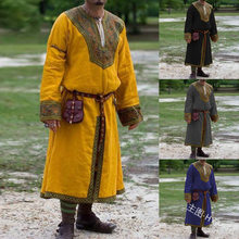 Middeleeuwse Viking Shirt Heren Tuniek Lange Mouw Gewaad Grown Middeleeuwse Renaissance Malelong Tops Undertunic Stage Kostuums M-3XL(China)