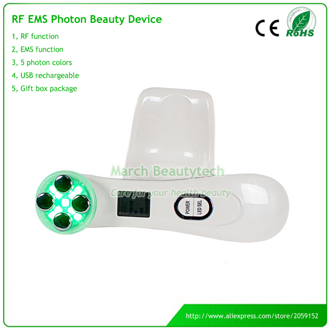 Portable RF Photon LED Skin Rejuvenation EMS Mesotherapy Facial Radio Frequency Electroporation Beauty Device Skin Tightening