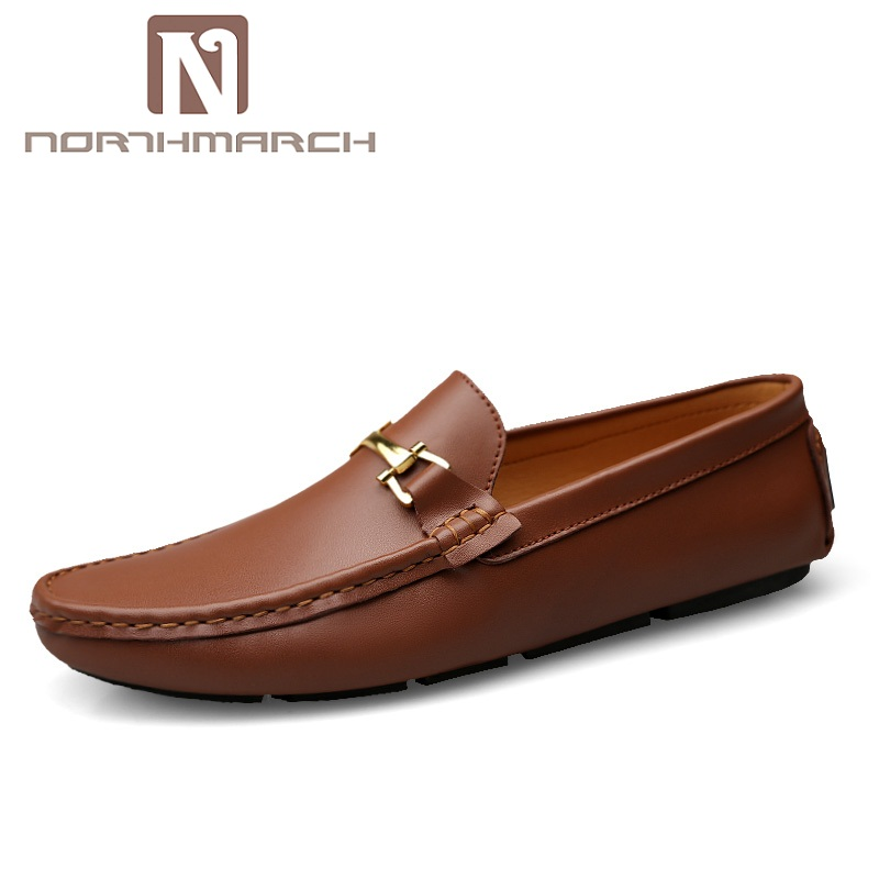 NORTHMARCH Genuine Leather Shoes Men Luxury Brand Mens Loafers Leather Breathable Driving Shoes Mens Zapatos Hombre Casual handmade mens shoes genuine leather casual shoes luxury brand breathable men flats shoes big size male loafers zapatos gray blue