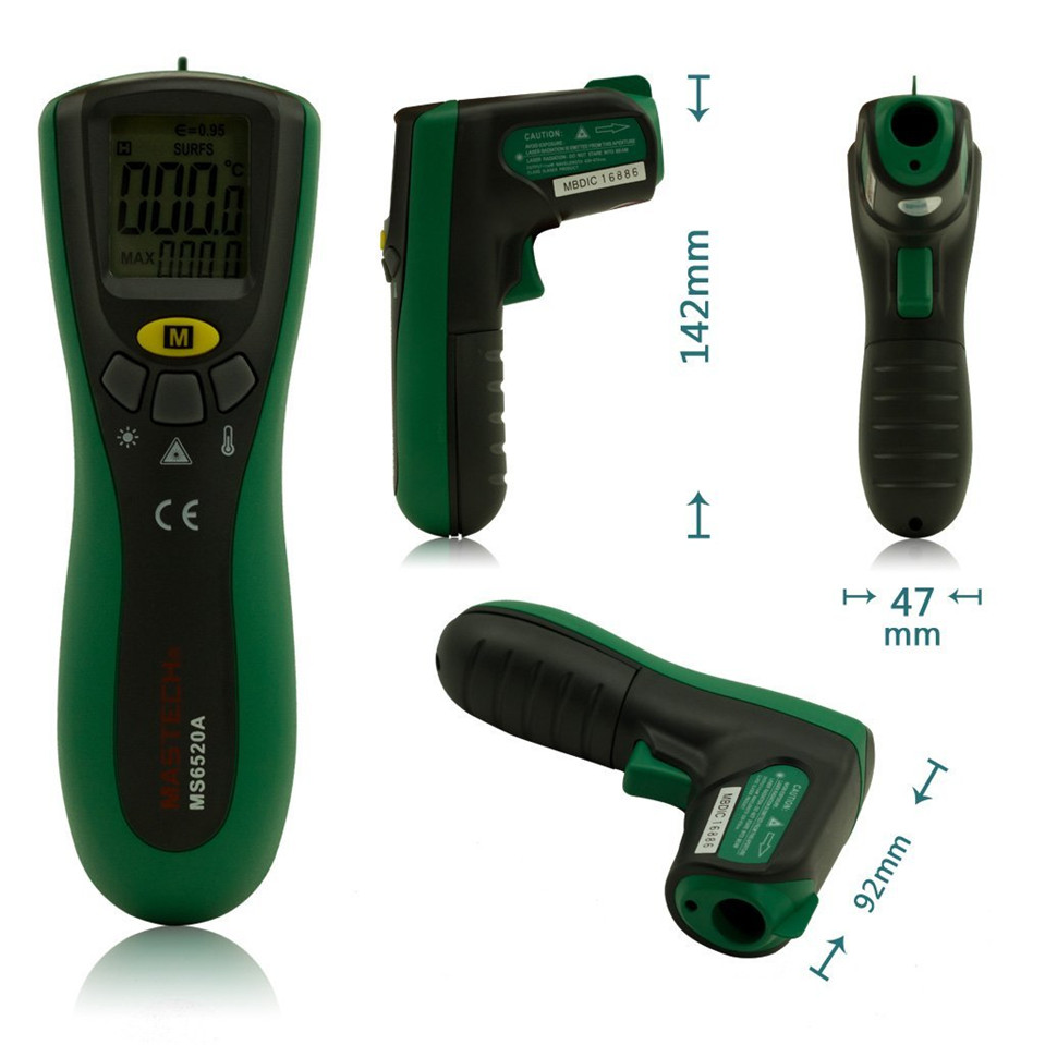 2017 Original MASTECH MS6520A 10:1 Digital Non-contact Infrared IR Thermometer Temperature Meter Tester Free Shipping  t010 new digital temperature meter tester mastech ms6520a laser pointer non contact infrared ir thermometer free shipping