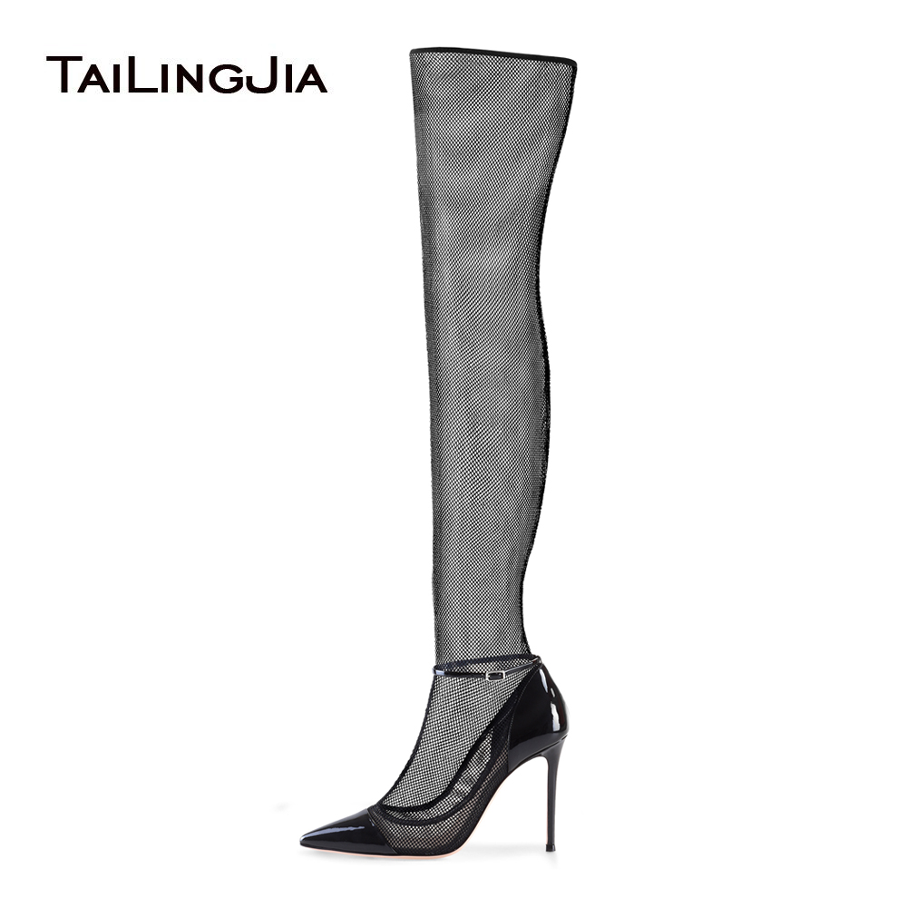 Sexy High Heel Black Stretch Mesh Sock Boots Pointed Toe Over The Knee High Boots Stiletto Heel Sandals Summer Shoes 2018 mesh zipper heel covering womens stiletto sandals