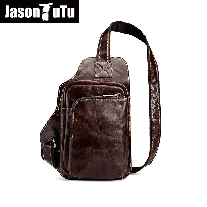 JASON TUTU brand design genuine leather bag chest pack men messenger bags vintage shoulder bags New promotion Satchels HN88
