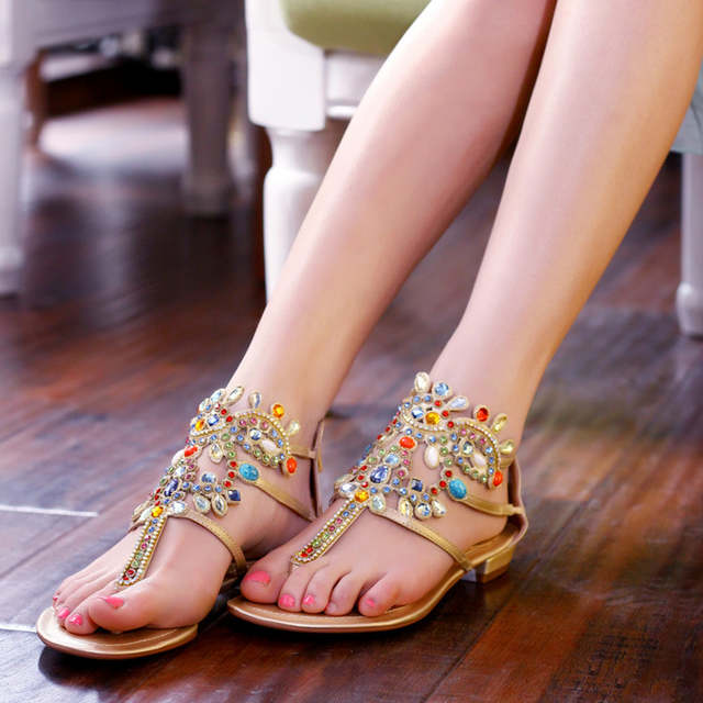 a3b7947a6e2b1 2017 Casual Crystal Stick Flip-flop Shoes Women Beach Wear Flat Sandals Clip -toe
