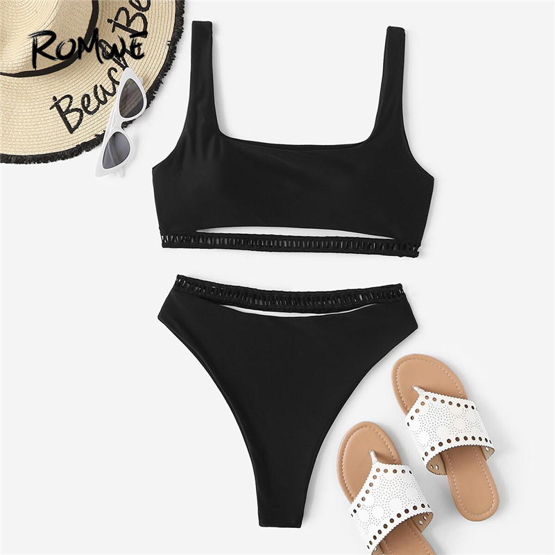 Romwe Sport Black Bikinis Set Cut-out Top With High Waist Bottoms Swimwear Women Summer 2019 Casual Square Neck Swimsuit