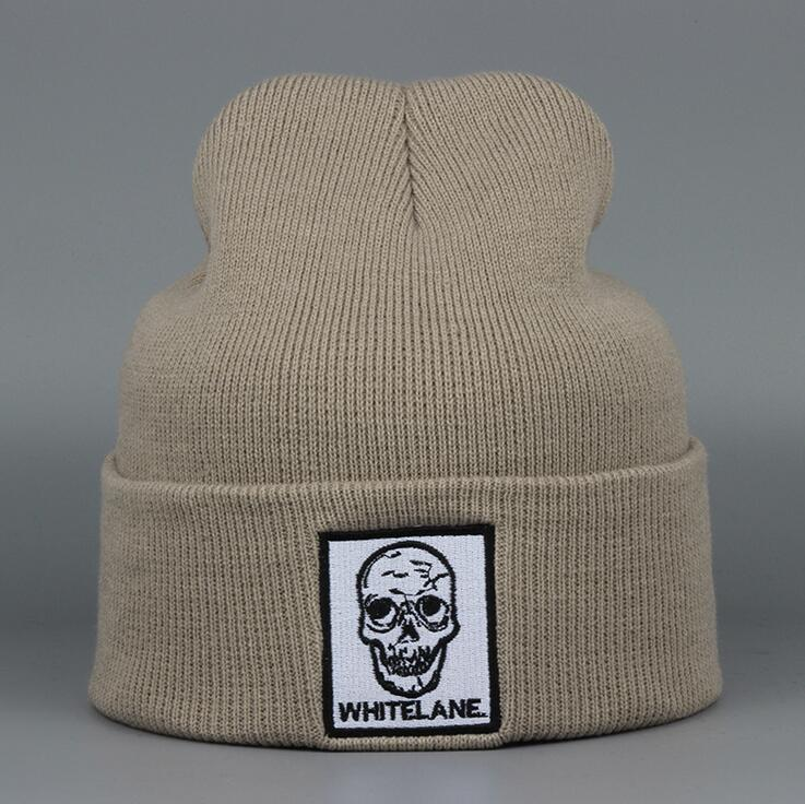 2017 Autumn winter Skull Hollow Women hat Man knitting Beanies loves warm outdoor trendy wool cap khaki grey black the new children s cubs hat qiu dong with cartoon animals knitting wool cap and pile