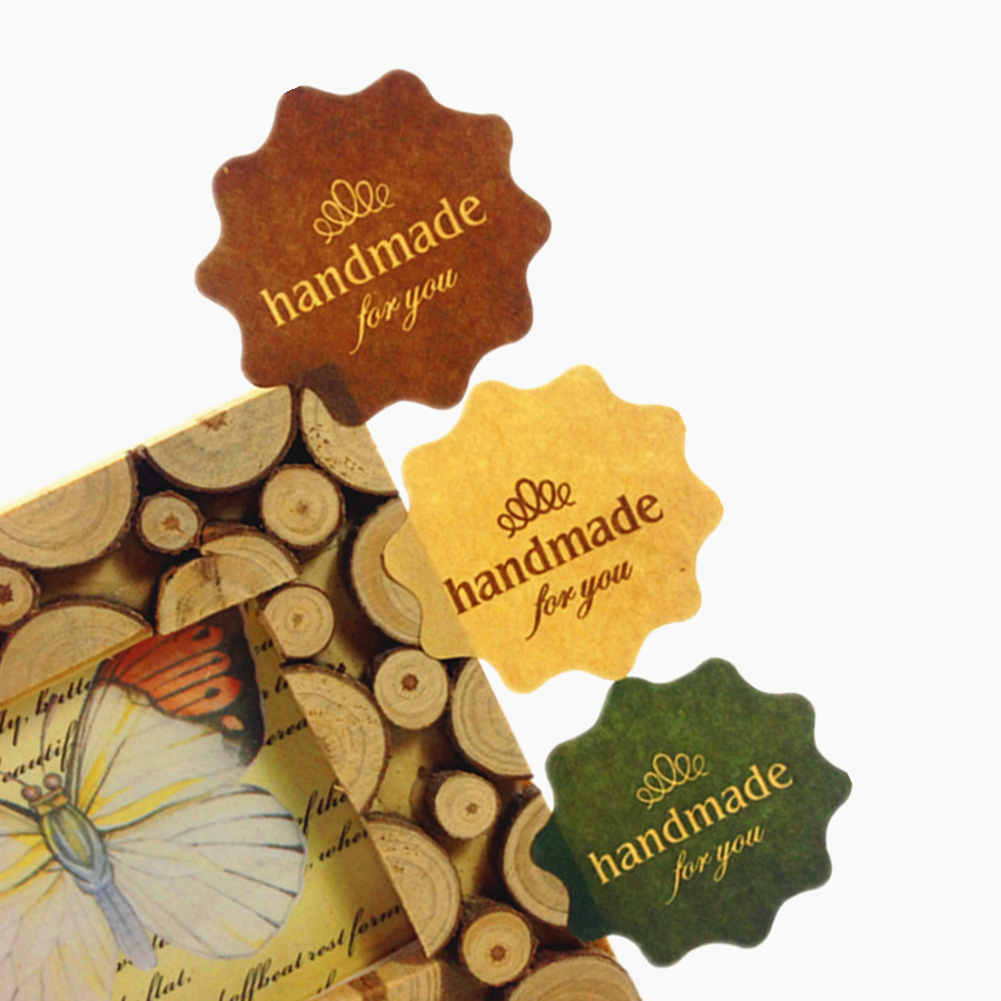 120PCS/lot Three color Flower Kraft paper 'handmade for you' print seal Sticker for Handmade Products Packaging label for baking 120pcs thank you heart round eco friendly kraft stationery label seal sticker students diy retro label handmade products