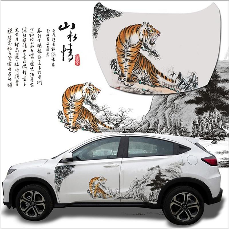 Grande Taille Autocollant De Voiture SeChinese D'encre Peinture Tiger Mountain Decal Voiture de Tout Le Corps Corps Couvre pour Volkswagen Auto Accessoires