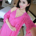 New Arrival 2016 Lace Robe Set With Deep V Nightgown Sexy Women Summer Sleepwear With Full Sleeve Home Wear Suits High Quality