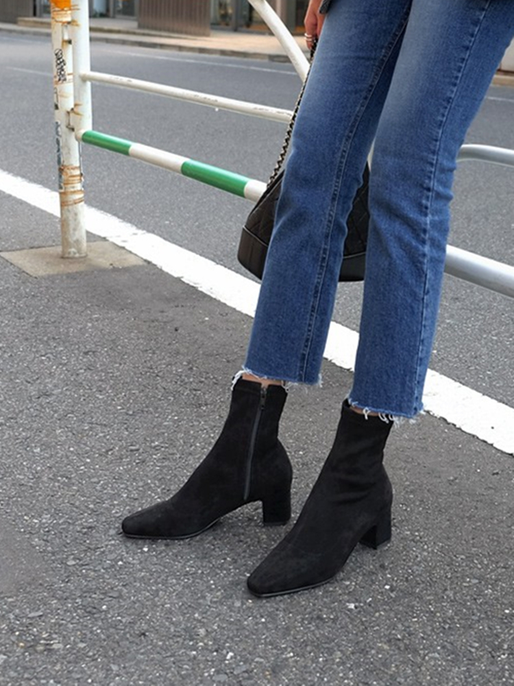 Women's mid-heeled elastic boots 2019 autumn and winter new square head square ankle boots