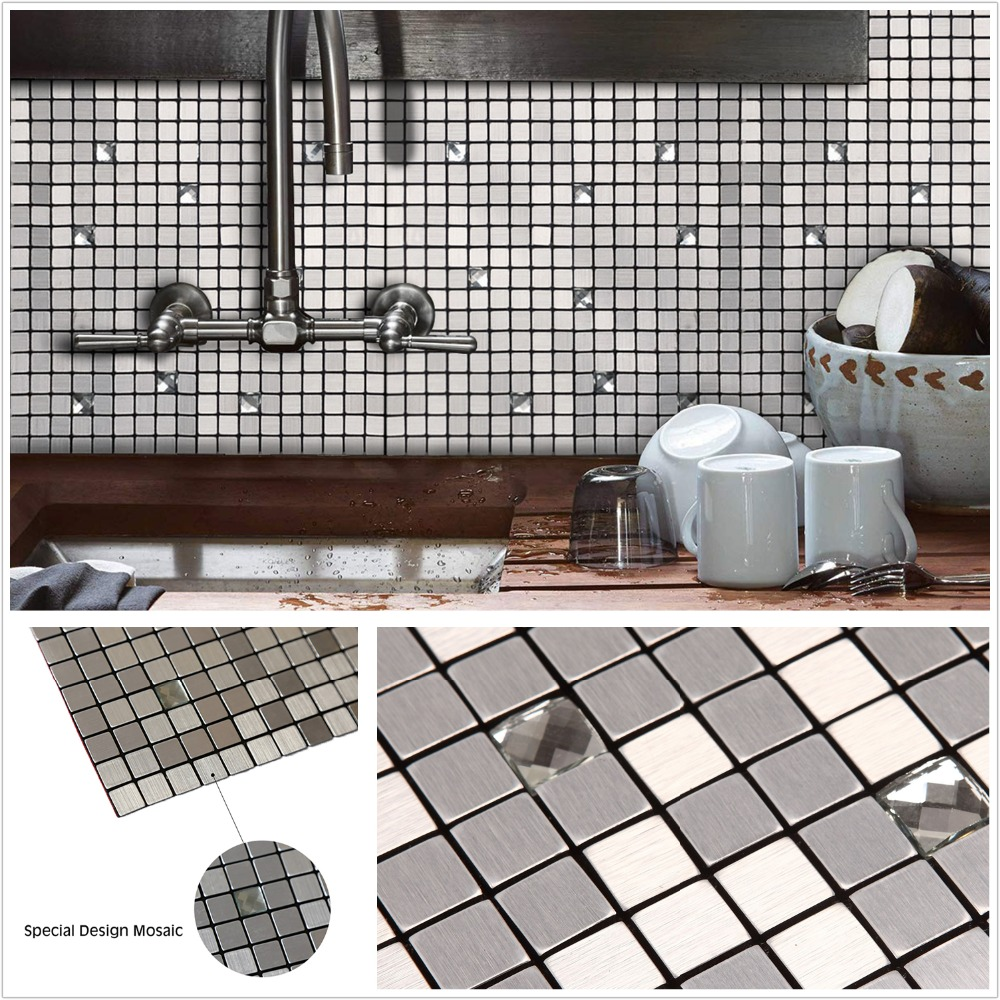 - 4 Pack Silver 3D Glass Mixed Self Adhesive Aluminum Metal Mosaic