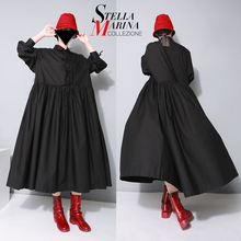 New 2017 European Women Black Maxi Long Dress Plus Size Standard Collar Long Sleeved Bow Cotton Pleated Loose Shirt Dresses 1748