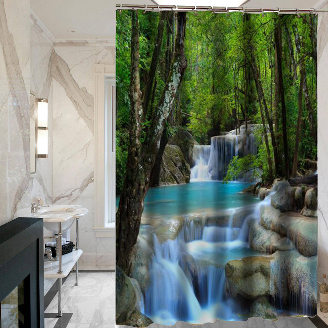 Rainforest shower curtain - Nice 3d Waterfall Scenery Waterproof Shower Curtain Creative Polyester Bath Curtain With 12 Hooks Bathroom Products
