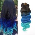Ombre 3 tone color 1b to Blue Clip in human hair extensions 7pcs 120g Full head clip ins hair extensions remy Human hair