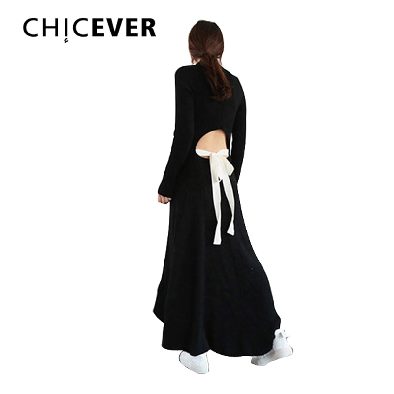 CHICEVER Autumn Black Knitting Maxi Dress Women Sweater Long Sleeve Backless Lace up Casual Dresses Female Knitted Clothes Korea