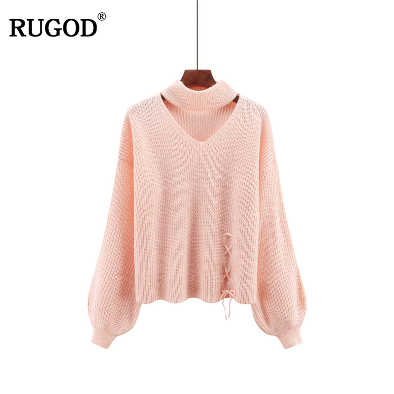 Rugod 2017 New Sweater Women Pullovers Fashion v-neck Long Lantern Sleeve Lace Up Knitted Cashmere Jumper Christmas Sweater