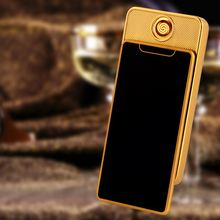 Cigarette Electronic Lighter USB Ultra-thin Metal Windproof Flameless Rechargeable Electric Coil Lighter Plasma Touch Sensing цена