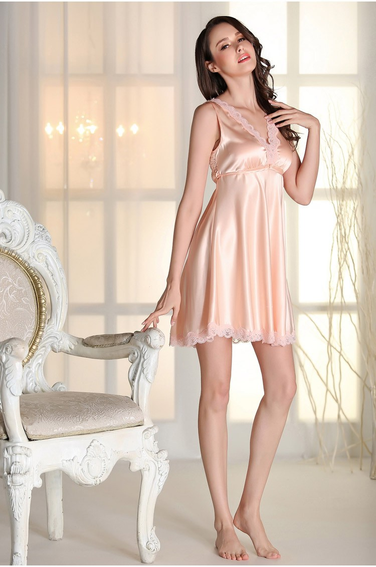 d1a8efb482 Summer Woman Sleepwear Spaghetti Strap V-Neck Nightgowns Silk ...