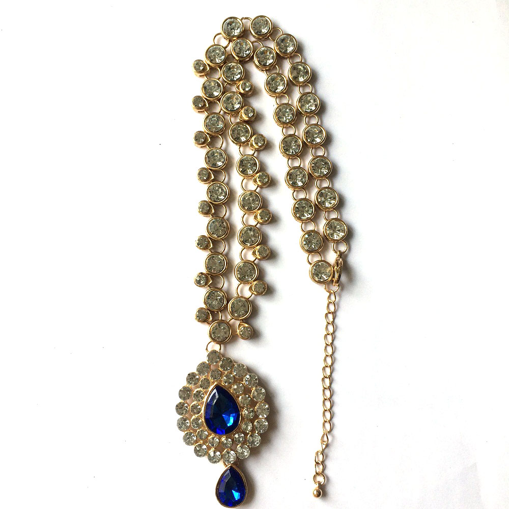 LiuJee Blue Kundan stone long necklace Indian Jewelry Necklace ...