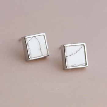 Flyleaf 925 Sterling Silver Natural Marble Square Stud Earrings For Women Fashion Girl Hypoallergenic Sterling-silver-jewelry