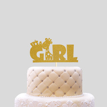 Cake Toppers Giraffe Birthday Cake Topper Cupcakes flags It's a Girl Baby Shower Party Decoration Gold Silver Cake Accessory