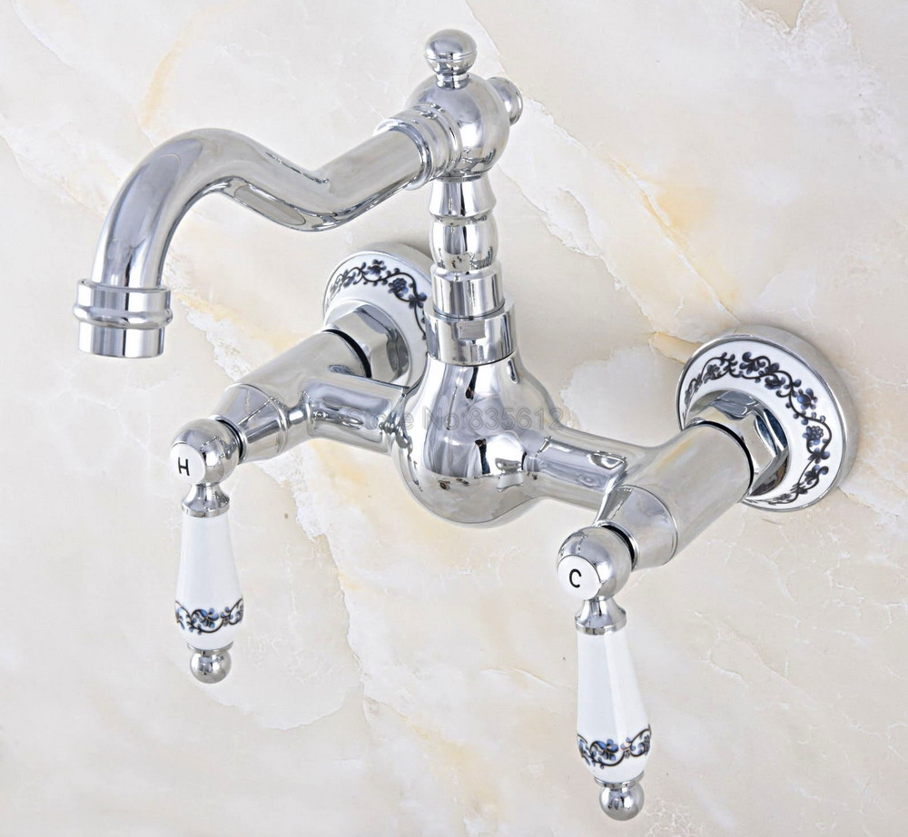 Basin Faucets Wall Mounted Kitchen Bathroom Sink Faucet Dual Handle Swivel Spout Hot Cold Water Mixer Tap tnf568Basin Faucets Wall Mounted Kitchen Bathroom Sink Faucet Dual Handle Swivel Spout Hot Cold Water Mixer Tap tnf568