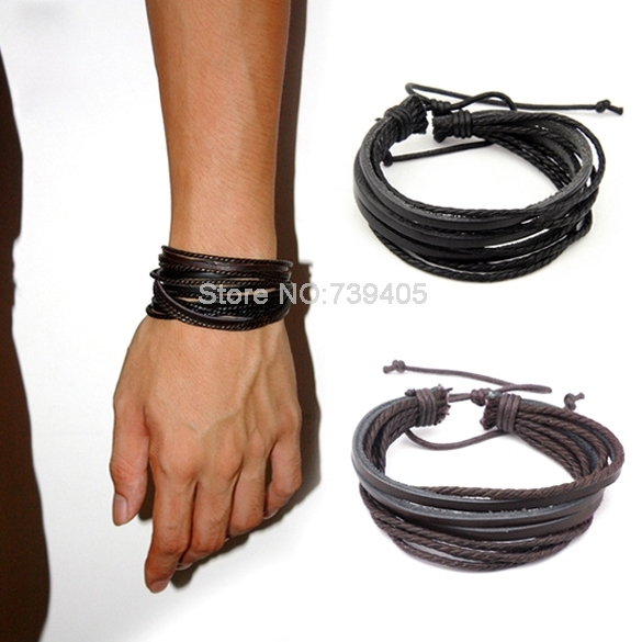 Vintage Style Wrap Leather Braided Rope Bracelet for Men and Women Charms Fashion Man Bracelet Black/Brown 19069 Z