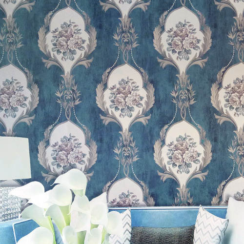 American Blue Flower Wallpaper Retro Style 3d Wallpaper Dark Blue Living Room Background Flowers American Wall Paper Roll blue earth cosmic sky zenith living room ceiling murals 3d wallpaper the living room bedroom study paper 3d wallpaper