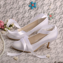 Wedopus MW400 Марка Свадьба Свадебная Обувь Дамы Высокий Каблук Насосы Белый Атлас