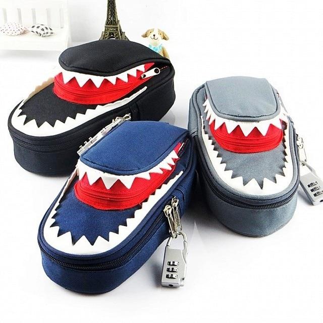 Süper büyük kapasiteli yaratıcı köpekbalığı tuval okul kalem kutusu kalem çantası kalem çantası kod kilidi ile