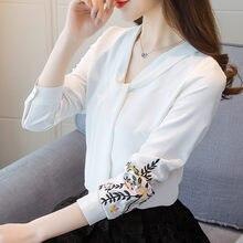 ec178d861fa Для женщин 2018 Весна вышитая рубашка белого V Средства ухода за кожей шеи  Блузка с длинным рукавом ленты свободные шифоновая ру.