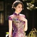 Free shipping New Hot Purple Chinese Charming Women's Short Qipao Mini Dress Evening Dress Cheongsam Size S--XXL