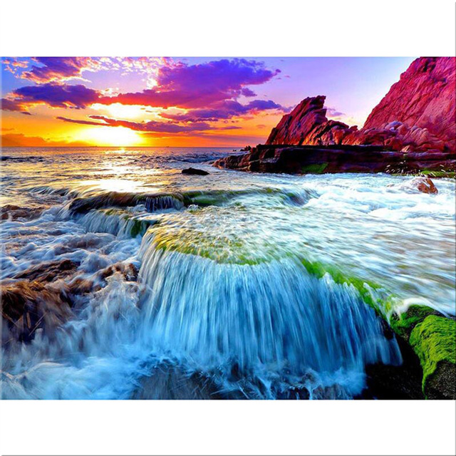 Full 5D Seascape Sunset Round Homlif Hobby Arts Crafts Decoration Embroidery Diamond Pai ...