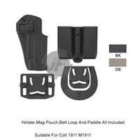 Tactical CQC Serpa Quick Right Hand Paddle Belt Loop Pistol Gun Holster w/ Magazine Pouch Mag Case for Colt 1911 M1911