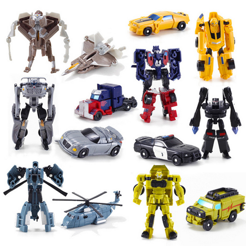 New Arrival Mini Classic Transformation Plastic Robot Cars Action Figure Toys Children Educational Puzzle Toy Gifts dinosaur transformation plastic robot car action figure fighting vehicle with sound and led light toy model gifts for boy