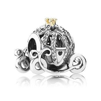 Подлинное 925 пробы серебряные бусины-шармы Золушка, тыква карета с хрустальные бусины, соответственные Пандоре обаятельные браслеты брасле... >> Waroom Silver Store