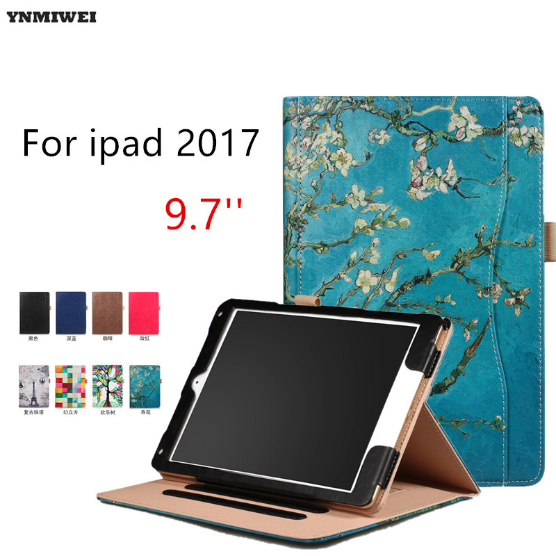 Tablet Case For iPad Air Air 2 ipad 9.7 2017 Ultra thin Flip Wallet Case PU Leather Cover For Apple Ipad 2017 9.7'' +Protector ultra thin smart flip pu leather cover for lenovo tab 2 a10 30 70f x30f x30m 10 1 tablet case screen protector stylus pen