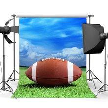 Fondo de fútbol americano campo de fútbol fondo azul cielo blanco nube verde hierba pradera deportes fondo