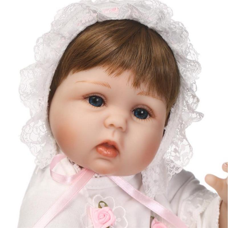 все цены на 40cm Reborn Babies Doll Silicone Reborn Dolls Toys with Blue Eyes Realistic Lifelike BeBe Reborn Dolls for Girls Princess Doll онлайн