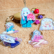 5PCS/SET Anime Keychain Eromanga Sensei Sagiri Izumi Kawai Lolita Cute Girl Yamada Elf Keyrings Git Pendant Doubleside Print