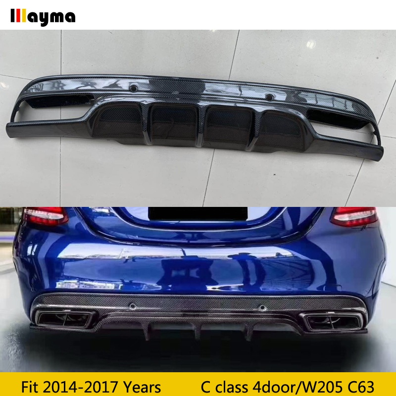 FD Style Carbon Fiber Car Diffuser for Mercedes Benz C class W205 C63 AMG Sport Bumper 4Door 2015-2018 year real spoiler image