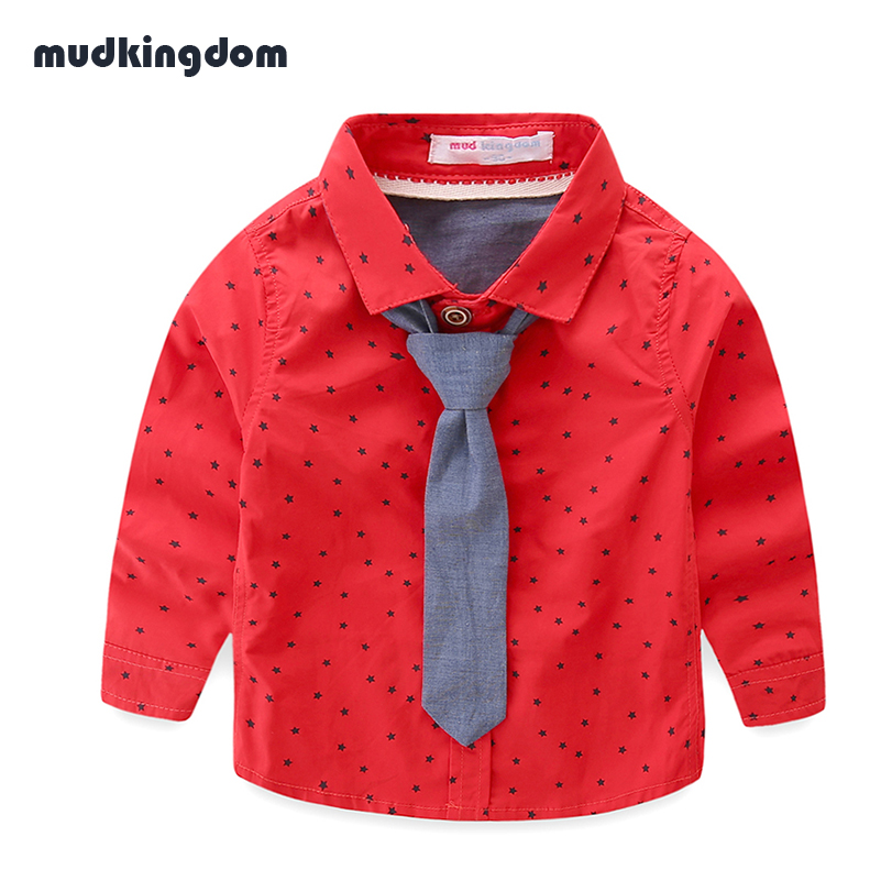 Mudkingdom Baby Boys Shirt with Tie Kids Baby Boy School Clothes Children Formal White Shirt for Wedding Party Polka Dot