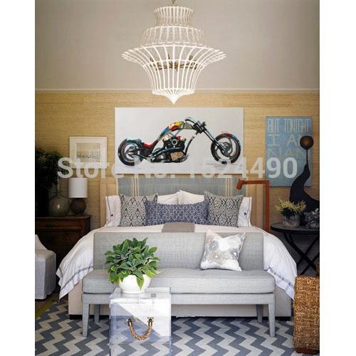 Ручная роспись крутой мотоцикл-современные Красочные абстрактные картины маслом на холсте для украшения дома стены искусства
