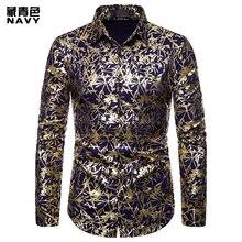 (European Size) 2019 MenS Autumn Casual Fashion Lapel Design Shirt Leaf Hot Stamping Long-Sleeved Dragon