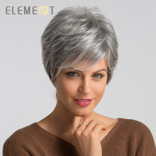 Element 6 дюймов Синтетические серые короткие волосы парик смесь 50% человеческих волос левая сторона пробор Pixie Cut парики для женщин