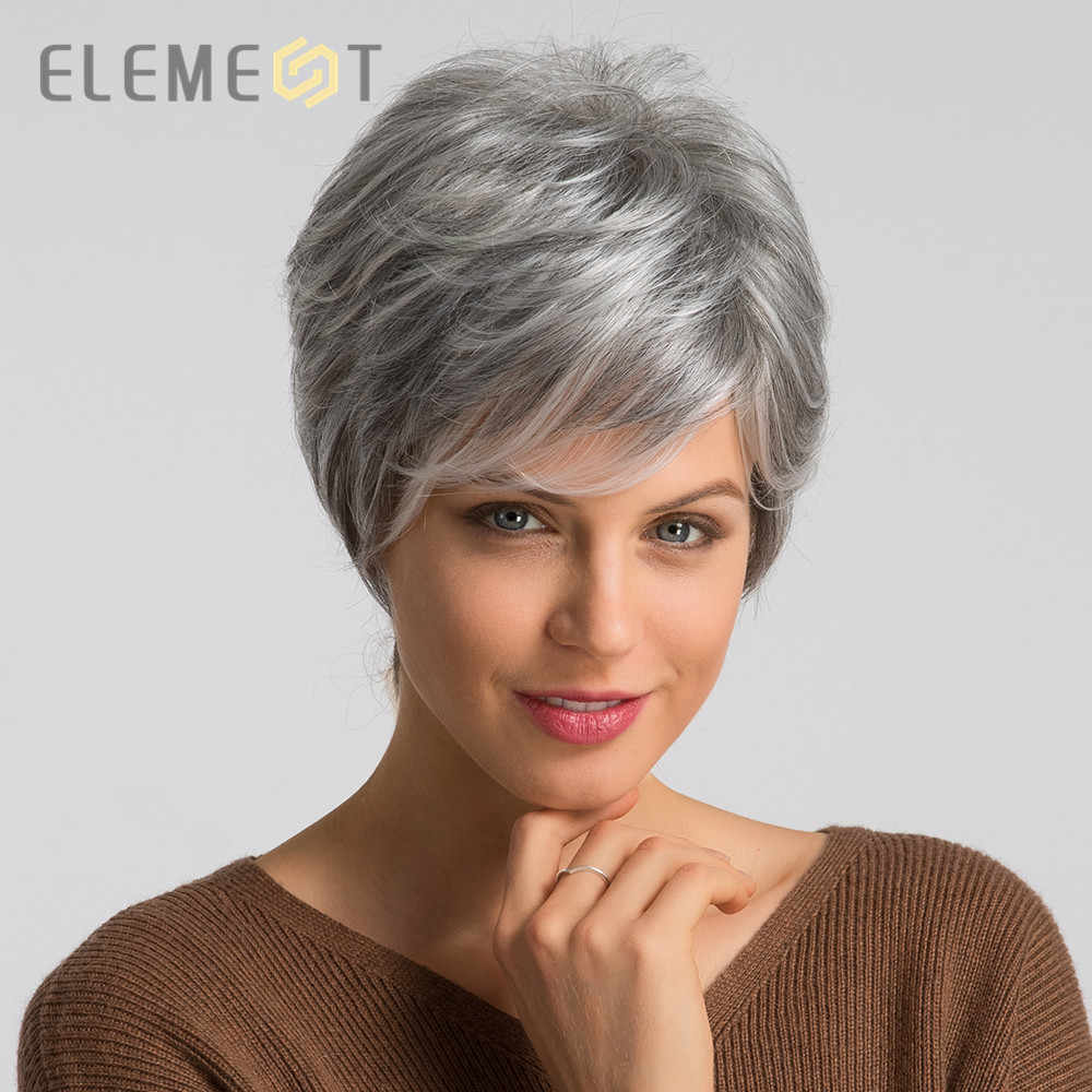 Eleman 6 inç sentetik gri kısa saç peruk karışımı % 50% İnsan saç sol yan ayrılık peri kesim peruk kadınlar için ücretsiz kargo